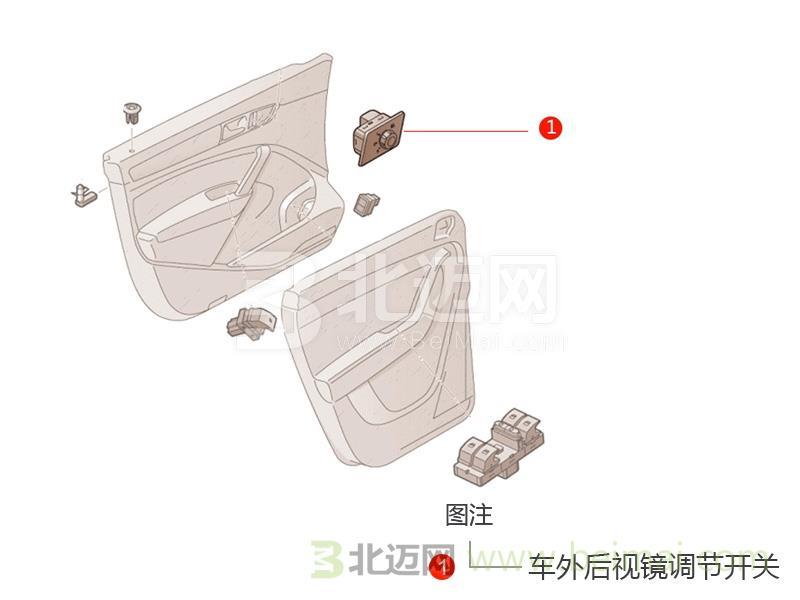 【广汽丰田第六代新款凯美瑞车外后视镜调节开关价格